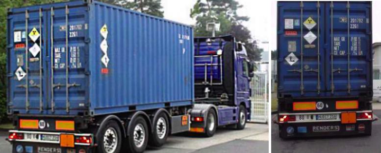 LKW mit Container-Auflieger mit schwach-aktivem Atommüll
