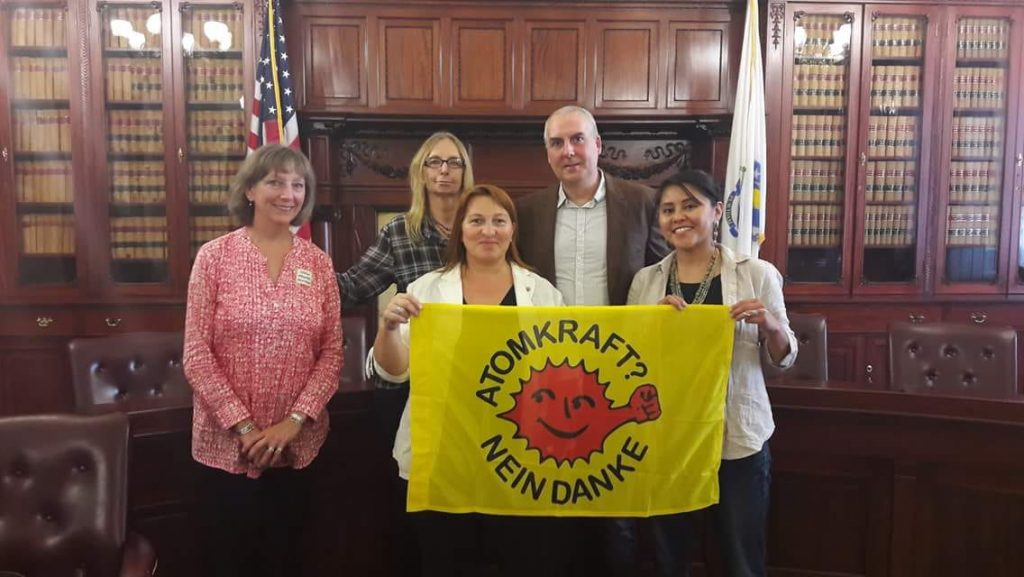 After our press conference at Boston State House. Don't waste america! Stop nuclear transports without concept!!